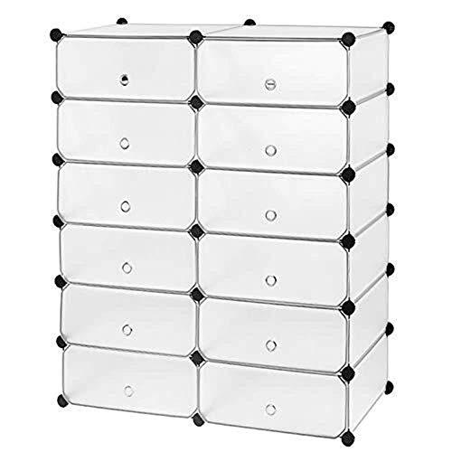 ZLININ Zapatero de almacenamiento de estantes de exhibición DIY 12 cubos organizador de ropa de plástico con puertas blanco mate, 45 x 35 x 17 cm