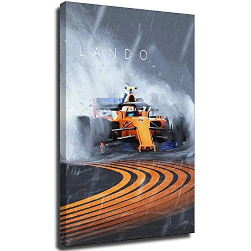 F1 Auto-Poster Lando Norris F1 2020 auf Leinwand, modernes Büro, Familie, Schlafzimmer, dekorative Poster, Geschenk, Wanddekoration, Gemälde, Poster 50 x 75 cm, Rahmen 50 x 75 cm