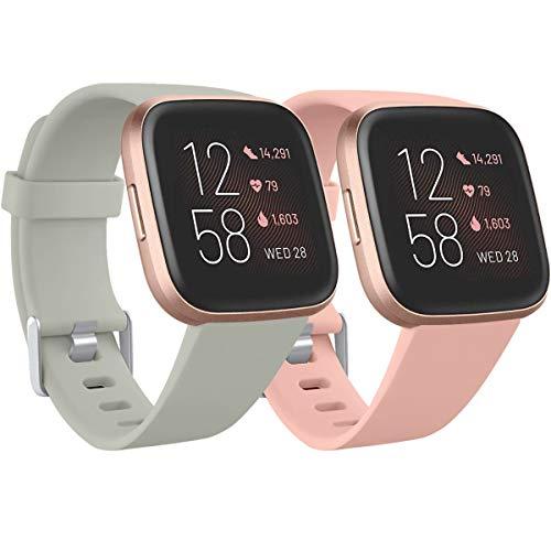 Ouwegaga Kompatibel für Fitbit Versa Armband/Fitbit Versa 2 Armband, Weiches Silikon Ersatz Armband Kompatibel mit Fitbit Versa Lite Armband, Damen Herren Klein, Grau/Rosa