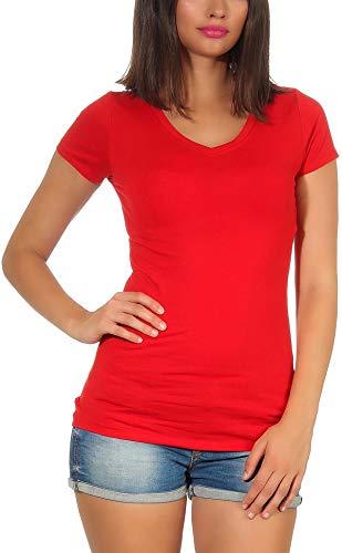 Jela London Damen Longshirt T-Shirt lang Stretch V-Ausschnitt Kurzarm einfarbig sexy eng-anliegend, Rot 40-42 (XXL)
