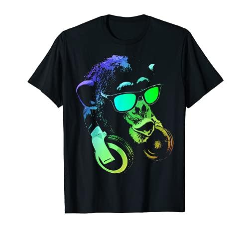 Monkey mit DJ Kopfhörer und Sonnenbrille T-Shirt