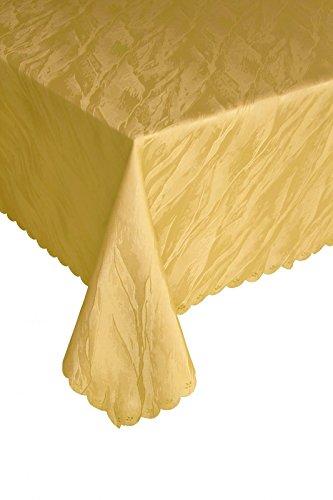 Ilkadim Damast Tischdecke 110x140 cm Gelb aus 100{f5025f7336e3829d2c9d78c6120eb6215de20775c5f318970847169f23d05aed} Polyester Bügelfrei und Flecken abweisend (Größen auswählbar)