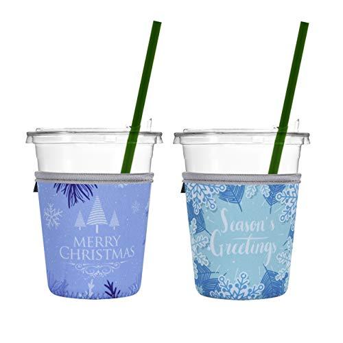 Beautyflier 2er Pack Isolierte Neopren Eiskaffee Sleeve Anti-Rutsch-Becherhalter für kalte Getränke Starbucks Kaffee, McDonalds, Dunkin Donuts Small (16-18oz) Weihnachtsdekoration