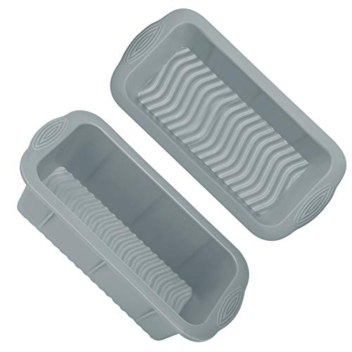 Silicone Bread and Loaf Pans,Non-Stick Silicone Bread Pan Set of 2,Premium Food Grade Silicone Loaf Pan Set,Silicone Bakeware Cake Molds for Baking Cake,Bread,Brownies,Meatloaf,Dishwasher Safe(Gray)