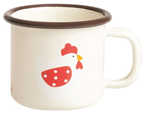 Excelsa Chicken Mug, Fer émaillé, crème