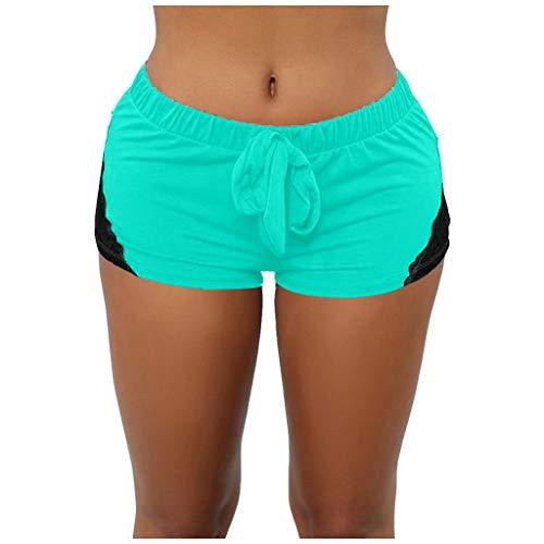 DAY8 Short Femme Sport Sexy Dentelle Leggings Femme Elastique Taille Haute Grande Taille Pas Cher Pantalons Court Femme Slim Chic Decontracte Fitness Yoga Running Musculation (Vert, M)