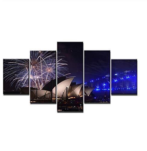 NA Grandes Cuadros Decorativos Modernos para Sala - Cuadro Pared Lienzo - Escena Nocturna De La Ópera De Sydney - Cuadros Decoracion Pasillo - 5 Panel