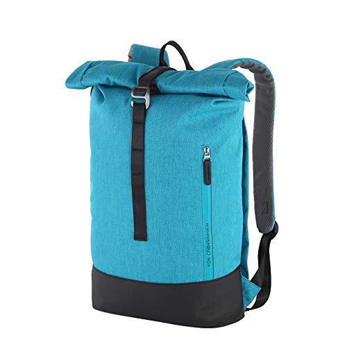 Von Cronshagen Rucksack Tjark 16l | sportlicher Rucksack | für Damen und Herren | Tagesrucksack Unisex | mit gepolstertem Laptopfach (Petrol/Black)