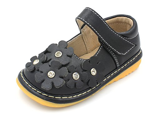 Little Mae's Boutique Squeaky Shoes | Black Crystal Flowers Mary Jane Toddler Girl Shoes (3)