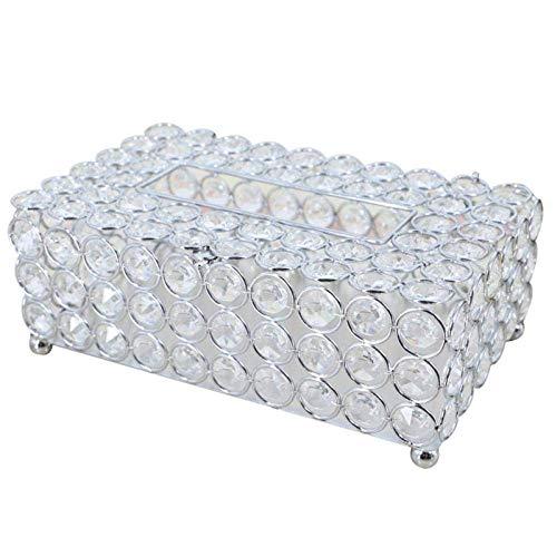 LYJ Tejido caja de pañuelos titulares Caja de almacenamiento caja de pañuelos de cristal caja de pañuelos simple Inicio de la sala de café de mesa cajones de escritorio de la servilleta Caja de almace