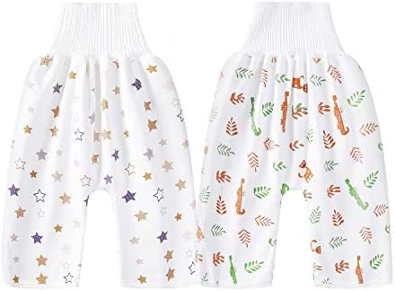 2 Packs Waterproof Cotton Training Pants Comfy Children s Diaper Skirt Shorts for Potty Training product image