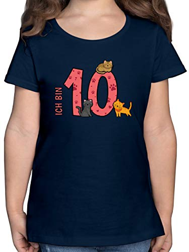Geburtstag Kind - 10. Geburtstag Katzen - 140 (9/11 Jahre) - Dunkelblau - F131K - Mädchen Kinder T-Shirt