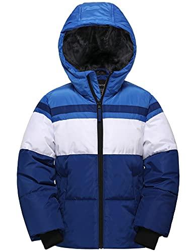 Wantdo Boy's Hooded Winter Coat Fleece Filling Anorak Down Jacket Windproof Outwear Parka Blue+navy 6/7