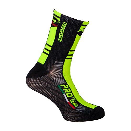 PRO' line Calze Calzini Ciclismo PROLINE Giallo Nero F Compression Cycling Socks 1 Paio One Size