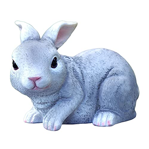 FAKEME Bunny Rabbits Garden Statues Outdoor Decorations Garden Art Gift for Patio, Lawn, Yard, Housewarming, Thanksgiving Polyresin Resin 7.4 inch - Gray 7.4X 4.5x5inch