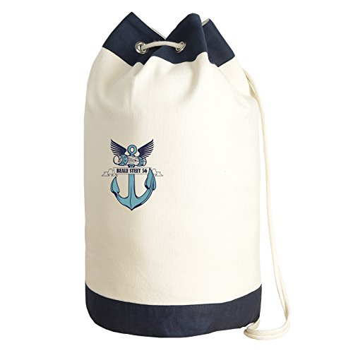 Seesack im Matrosen Look Motiv Anker Tasche Turnbeutel Beutel Bag Canvas Sporttasche Shopper Segeln Segel Segellook Segelmotiv Matrosenlook