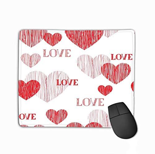Kundenspezifische Rechteck Mousepad, niedliche Gaming Maus Pad Matte Liebe Herz Mutter Happy Valentinstag Handschriftliche Schriftzug Tapete Bleistift Skizze gekachelt