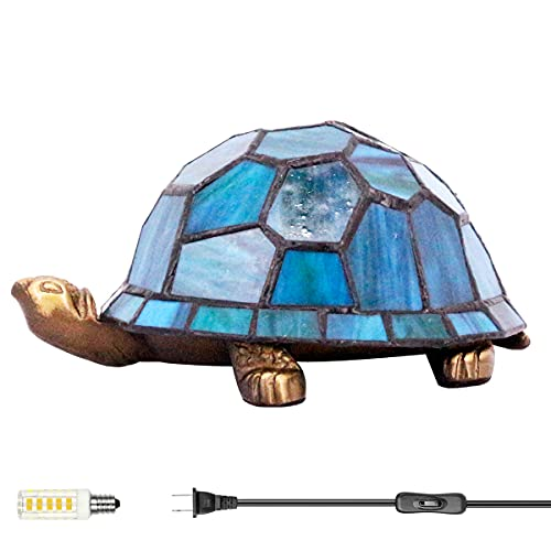 Cute Turtle Night Light for Kids Room Small Cool Tiffany Lamp LED Antique Mini Blue Stained Glass Tortoise Décor Baby Children Boys Girls Teen Bedroom Nursery Bedside Desk Table Unique Gift WERFACTORY
