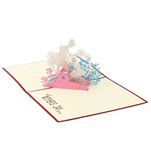 Tinksky Tarjeta de felicitación del día de la Madre 3D Pop Up Greeting Cards Tarjeta de cumpleaños Hecho a Mano Mom and Kids Kirigami Paper Craft para el día de la Madre Cumpleaños de la Madre