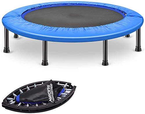 YUMUO Trampolín plegable para adultos, trampolín de fitness en interiores, mini trampolín, trampolín, almohadilla de resorte, para toda la familia (color: azul, tamaño: 45 pulgadas)
