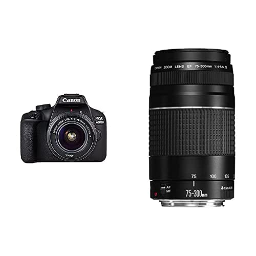 Canon EOS 4000D - Cámara con objetivo, 18 MP, Full HD, EF-S 18-55mm III, color negro