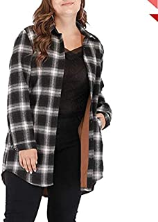 Winter new large size women fat MM classic plaid long-sleeved shirt plus velvet women's casual jackets (Color : Black, Size : 5XL)