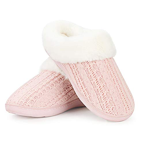 Soft Ladies Slippers Furry Memory Foam Slippers for Women House Shoes Bedroom Home Indoor Outdoor Slip on Size 11-12 Pink