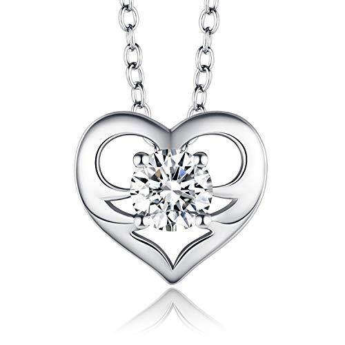 CDE Kette 925 Silber Damen Geschenk fur Frauen Weihanchten, Herz Damen Halskette, 5A Zirkonia, Allergiefrei, mit zarter Schmuckschatulle (Geschenk der Liebe Silber)