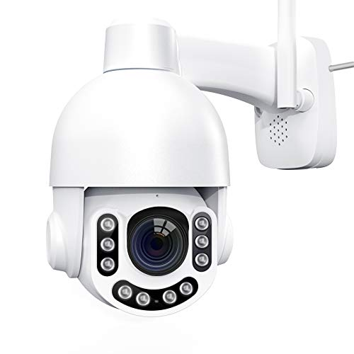Netvue Security Camera Outdoor, 2k 3MP IP Camera, Pan/Tilt/8X Digital Zoom, H.265, 360° View, 2.4G Wi-Fi Wireless Camera with Alexa, 2-Way Audio, Clear Night Vision, Weatherproof and Motion Detection