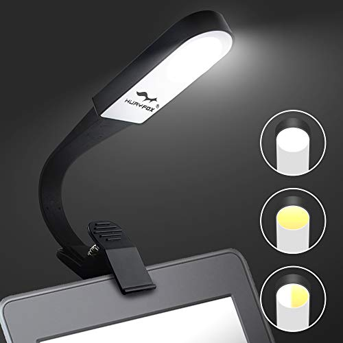 Huryfox Clip on Book Light for Reading in Bed USB Rechargeable LED Night Reading Light Portable Eye Protection eBook Lamp Adjustable with 3 Level Brightness and 3 Light Colors