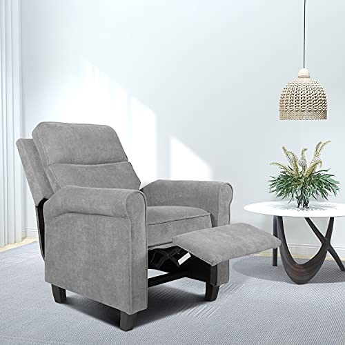 Recliner Chair, Living Room Chair Fabric Push Back Single Reclining Sofa Home Theater Seating Indoor Lounge Furniture for Bedroom, and Other Home Spaces, Grey