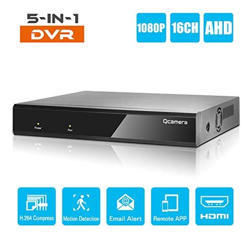 Q-camera 16CH 1080 P Full HD Hybrid AHD/TVI/CVI/Analog/Onvif IP DVR H.264 CCTV Videorecorder Bewegungserkennung P2P Fernüberwachung für Home Security Surveillance System Kamera (Keine Festplatte)