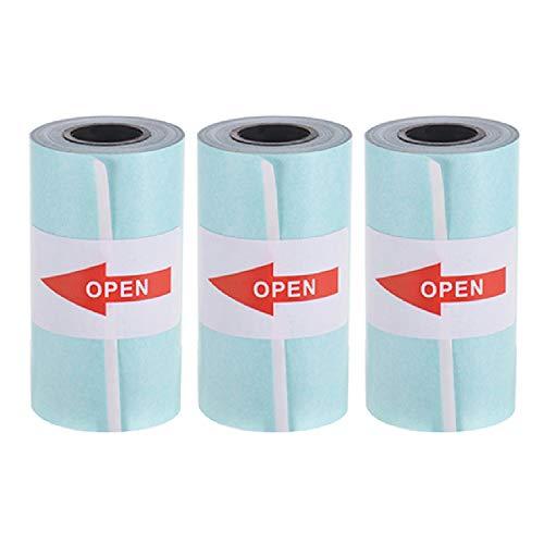 JEPOD 57 x 30 mm papel térmico adhesivo de papel de billetes de recibos de papel fotográfico PeriPage A6 para impresora fotográfica pequeña PAPERANG P1/P2, 3 rollos (3 rollos de papel adhesivo)