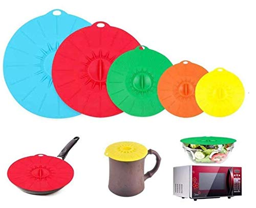 Silicone Suction Lids Set of 5 Various Size Press Sealed Microwave Dish Covers Multiple Colour Reusable Splatter Proof Food Covers Fits Various Sizes of Pans, Bowls, Containers and Cups BPA Free