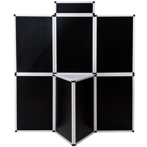 TecTake Parete promozionale Pannello espositore parete divisoria per ufficio fiere congressi 180 x 200 cm con tavolo - disponibile in diversi colori - (Nero | No. 400962)