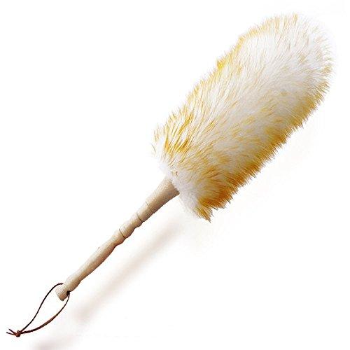 Staubwedel mit Lammwolle, robuster Holzgriff, flexibel, gute Griffikgkeit, antistatisch, für Daheim, im Büro oder Auto, 48 cm