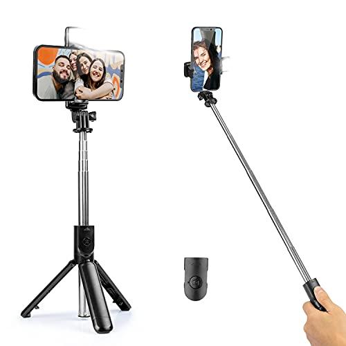 Selfie Stick Extensible con Control Remoto inalámbrico y luz de Relleno, Soporte para teléfono con trípode para grabación de Video en Vivo,Compatible con iPhone 12 Pro Max/11/XS Max/7P/6S,Galaxy S21