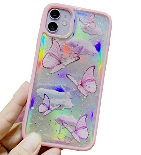 Topwin iPhone 11 Pro Max 6.5'' Butterfly Case, Girly Bling Glitter Cute Butterfly with Removable Laser Paper Shinny Funny Soft Silicone Protective Case for Apple iPhone 11 Pro Max 6.5'' (Pink)