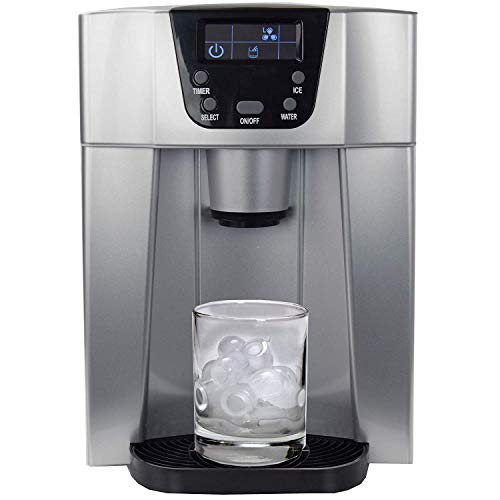 BETEC Ice Dispenser SLIM • Eiswürfelbereiter • Eiswürfelmaschine mit Spender-Funktion + Wasserspender • 2 Eiswürfelgrößen • LED-Display • bis zu 12kg /Tag • silber