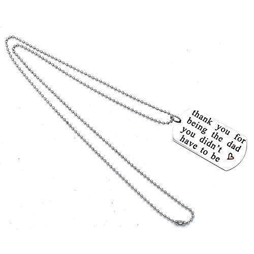 SUNSKYOO Danke, DASS du der Papa bist. Schlüsselring Edelstahl Brief DNA Family Love Schlüsselring, XL113 (Danke Halskette)