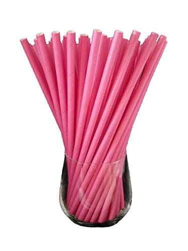 Sam for You Papierstrohhalme, Papier Trinkhalm, Biologisch, Lebensmittelecht, umwelftreundlich, Einweg-Strohhalme, 120 Pack (Rosa)