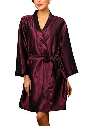 Dolamen Unisex Damen Herren Morgenmantel Kimono, Satin Nachtwäsche Bademantel Robe Kimono Negligee Seidenrobe locker Schlafanzug, Büste 132cm, 51,97 Zoll, große Größe für alle (DarkRed)
