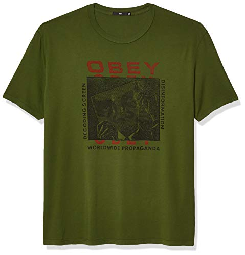 Camiseta Obey Superior SS para hombre con pantallas de decodificación - Verde - Large