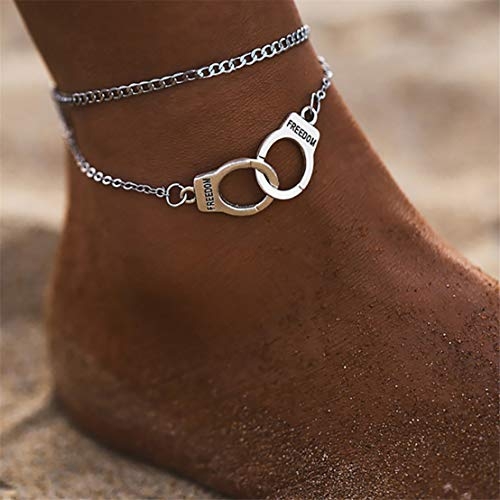 Kissherely Frauen Geschichteten Fußkettchen Liebe Handschellen geformt Anhänger Knöchel Armband Strand Barfuß Fußkettchen