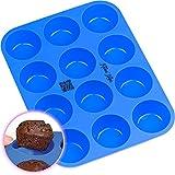Kitchen Helpis Stampo in Silicon per 12 Muffin e Cupcake, Vassoi per Muffin, 12 Tazze, Teglia in Silicone Senza BPA e Rivestimento Antiaderente, Lavabile in lavastoviglie | con Ricette e-Book