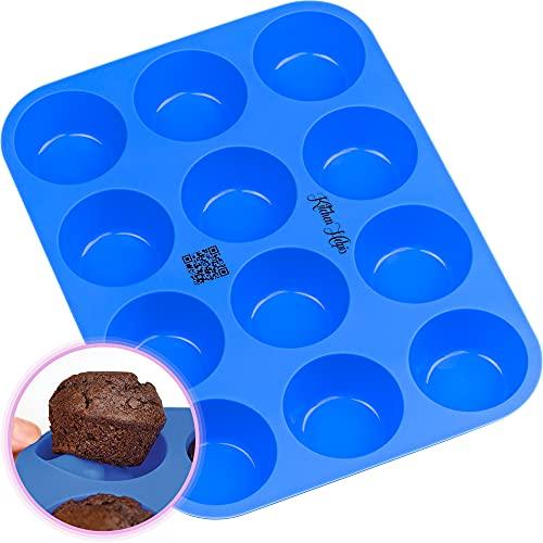 Kitchen Helpis® 12er Silikon Muffinform BPA-frei, antihaftbeschichtetes Muffinblech, Muffinform Silikon BONUS Rezeptbuch, Muffins Backform spülmaschinenfest, Muffin Form, Muffin Backform