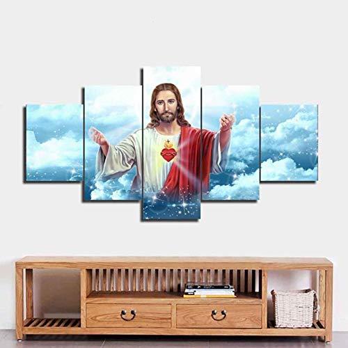 Cuadros Decoracion Infantil Pinturas Pared Arte De La Pared Hd Impresiones Decoración Del Hogar Jesús 5 Piezas Religioso Lienzo Pintura Fondo Obra De Arte Cartel Cuadros Para Dormitorios Juveniles