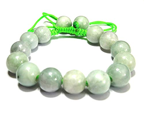 Karatgem Jewelry Genuine Jadeite Jade 14mm Light Green Adjustable Rope String Bracelet Bangle Beads (Style 6)