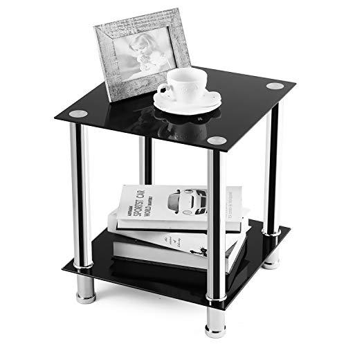 RFIVER Table Basse Salon Bout de Canapé avec 2 Etagères Table d'appoint Verre Trempé Carré Noir ET2001