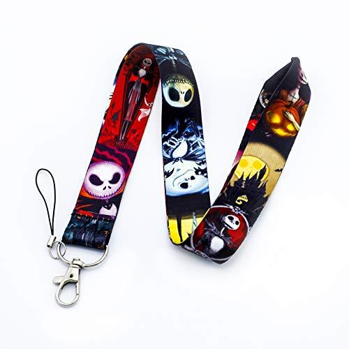 The Nightmare Before Christmas Jack Sally Lanyard Skull Print Key Chain ID Card Badge Holder Halloween Neck Strap (Colors)
